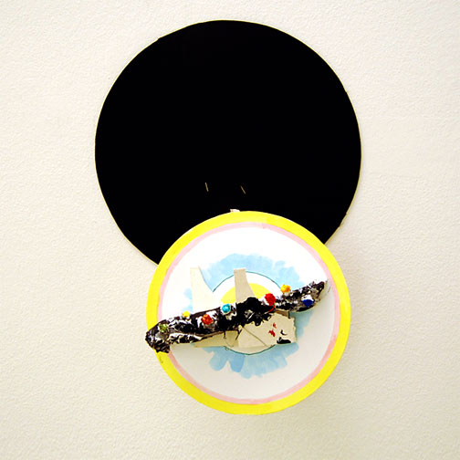 Richard Tuttle / Craft #4  2008 51.5 x 36 x 15 cm cardboard, wiremesh, wire, styrofoam, silicone, paper-mâché, pencil and acrylic paint mounted on painted cardboard circle on wood on black cardboard circle