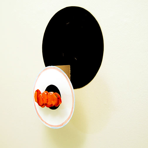 Richard Tuttle / Craft #6  2008 51.5 x 36 x 16 cm soft tissue, paper, red string, tape, silicone, white glue and acrylic paint mounted on painted cardboard circle on wood on black cardboard circle