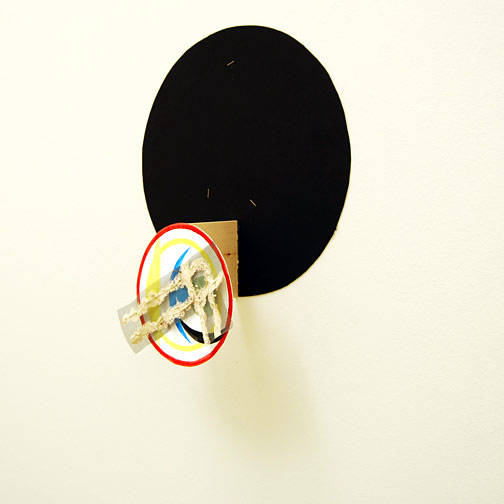 Richard Tuttle / Craft #15  2008 43.5 x 36 x 14 cm wiremesh, wire and acrylic paint mounted with a nail on painted cardboard circle on wood on black cardboard circle