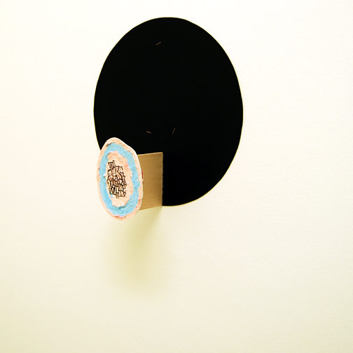 Richard Tuttle / Craft #25  2008  37 x 36 x 13 cm acrylic paint, foamcore board, paper-mâché mounted on painted cardboard circle on wood on black cardboard circle